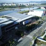 Vista aérea de Daejeon-Coreia do Sul e destaque em primeiro plano dos prédios onde se realizou a APIMONDIA-2015.