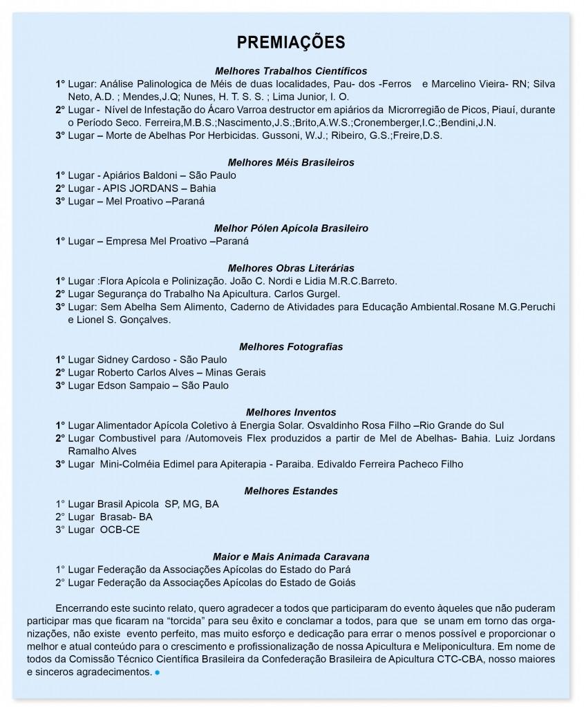 Quadro Premiações