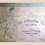 1930 - Diploma ganho por Antônio Zovaro do Instituto Agrícola Brasileiro – Rio de Janeiro.