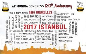 Foto 3 – Painel comemorativo dos 120 anos da Apimondia, contendo o ano e as cidades onde se realizou o Congresso.