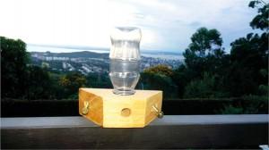 """Figura 2. Alimentador modelo Roso para abelhas nativas sem ferrão. A garrafa é acoplada """"de cabeça para baixo"""" na base do alimentador. As abelhas alcançam o alimento líquido que está na garrafa, por meio do túnel de entrada. O vácuo formado dentro da garrafa não permite que o alimento líquido escorra."""