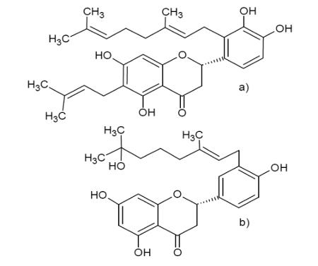Figura 1. a) Estrutura do prokinawam e b) estrutura do ácido 3-prenil-4-hidroxicinâmico.