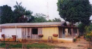 Casa e laboratório do meliponário experimental de Xapuri com colmeias ao seu redor.
