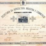 1942 – Diploma de conclusão do curso de Apicultura por Luiz Zovaro realizado pela Secretária da Agricultura, Industria e Comercio do Estado de São Paulo.
