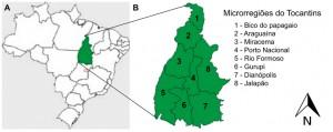 Figura 1: Mapa de localização da área de estudo. A - Brasil, B - Divisão do Estado do Tocantins em oito microrregiões. Fonte: http://br.viarural.com/mapa/tocantins/