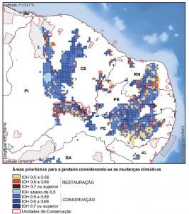 Figura 2. Áreas prioritárias para conservação e restauração da jandaíra, considerando-se as mudanças de clima, o uso da terra e o IDH (Índice de Desenvolvimento Humano).