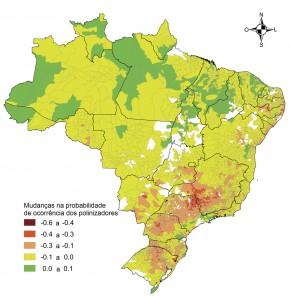 Figura 1. Mudança potencial média na probabilidade de ocorrência de polinizadores relacionada à mudança climática projetada para 2050 nos municípios brasileiros onde as 13 culturas analisadas são produzidas. Os valores variam de -1 (diminuição de 100% na probabilidade de ocorrência do polinizador, vermelho para amarelo) para +1 (aumento de 100%, verde para azul). As áreas em branco correspondem aos municípios onde não há produção das culturas analisadas.