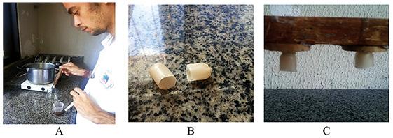 Figura 3 – Confecção das cúpulas (A e B) e quadro com cúpulas voltadas para baixo (C).