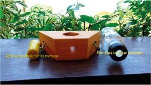 Figura 9. Detalhes do alimentador modelo ROSO para fornecimento de suplemento proteico às abelhas. O suplemento proteico, na forma de uma pasta, é colocado dentro do refil.