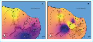 Figura 4 – Distribuição espacial da variabilidade genética adaptativa em Melipona subnitida. As cores distinguem áreas com diferentes conjuntos de alelos adaptativos, seguindo um gradiente norte-sul (A) e um gradiente de altitude (B). Em ambas as figuras, as áreas sombreadas representam regiões elevadas, com pelo menos 500 metros de altura acima do nível do mar.